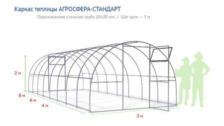 Чертеж металлического каркаса теплицы из листового поликарбоната Стандарт-Агросфера