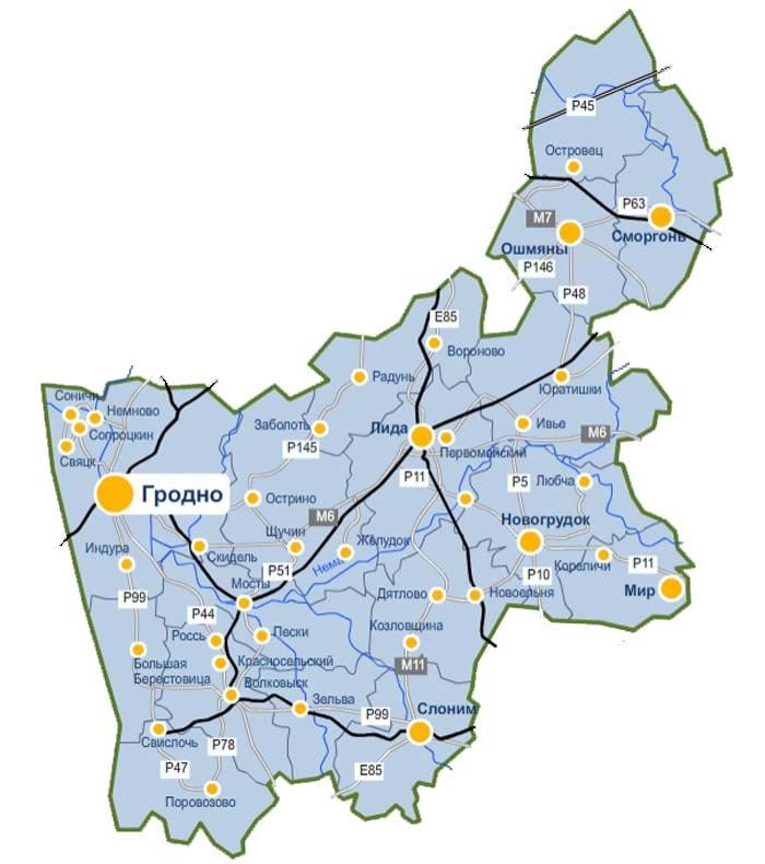 Карта доставки парников и теплиц из поликарбоната по Гродненской области
