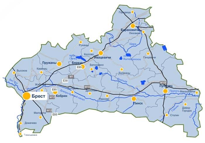 Карта доставки парников и теплиц из поликарбоната по Брестской области