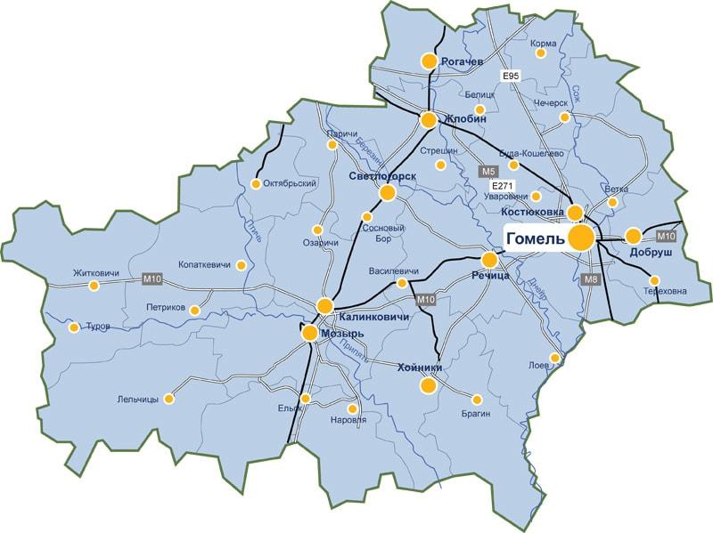 Карта доставки парников и теплиц по Гомельской области