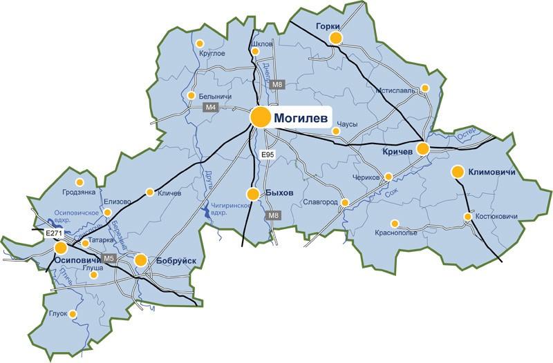 Карта доставки парников и теплиц по Могилевской области