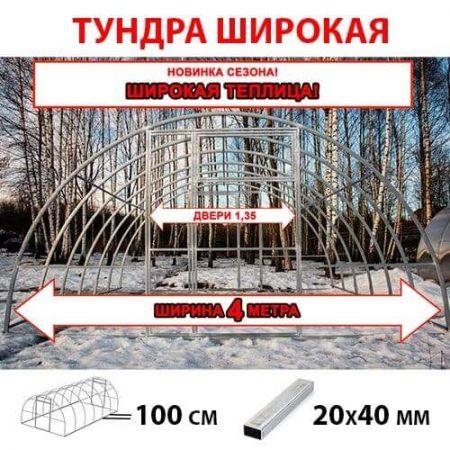 Теплица из поликарбоната Тундра Широкая шириной 4 м труба 40х20 шаг 1 м белорусского производства