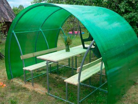 Дачная беседка Пион цвет поликарбоната зеленый